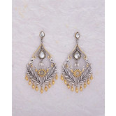 Dual Tone Plated Floral Drop Earrings