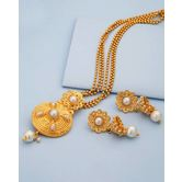 Ethnic-style Gold Plated Pendant Set With Pearls