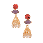 Golden Jhumki\'s Encrusted With Purple-red Stones