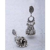 Leafy With Round Design Dangled With Jhumki Earrings In Oxidized Plating For Women