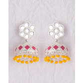 Floral Pair Of Jhumki Earrings Dangled With Yellow Beads For Women