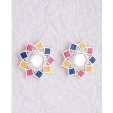 Silver Plated Earrings With Colorful Enameling For Women