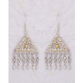 Intricate Dangle And Drop Brass Earrings