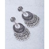 Chandbali Designer Pair Of Earrings Dropped With Matallic Beads For Women