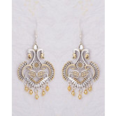 Artistic Drop Earrings With Dual Tone Plating