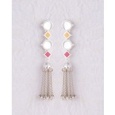 Silver Plated Earrings With Chain Tassels For Women