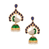 Jhumki Earrings With Green Enamel And Blue Stones
