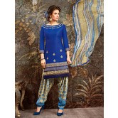 Craftsvilla Blue Cotton Embroidered Unstitched Dress Material With Dupatta