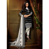 Avanya Black Bhagalpuri Silk Printed Dress Material With Dupatta