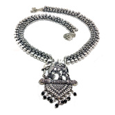 Antique Finish Oxidised Silver Plated Elephant Bahubali Pendant Chain Necklace For Girls And Women
