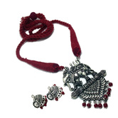 Designer German Oxidised Silver Elephant Designer Style Necklace With Red Thread Dori & Earring