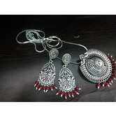 Traditional Oxidised Silver Plated Party Wear Fashion Jewellery Statement Necklace & Earrings