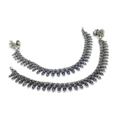Designer Oxidized Silver Plated Ethnic White Metal Anklets For Women Or Girl