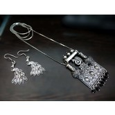 Peacock Inspired Antique Jewellery Oxidised/german Silver Necklace Set For Girls And Women
