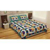 Grj India Double Cotton Floral Bed Sheet