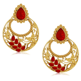 Spargz Antique Red Alloy American Diamond Chandbali Earring For Women Aier 495