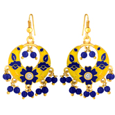 Spargz Gorgeous Gold Plated Officewear Multicolor Meenakari Chandbali Hook Earrings For Women Aier 1075