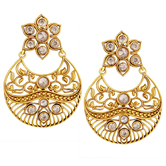 Spargz Traditional Floral Brass Gold Plated Matte Finish American Diamond Chandbali Earring Aier 1024