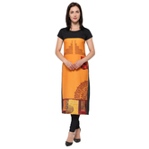 Anuswara Orange & Multicolor Crepe Digital Printed Kurti