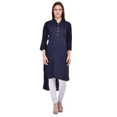 Anuswara Navy Blue Color Rayon Plain Kurti