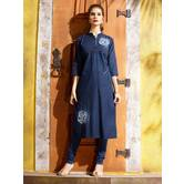 Anuswara  Blue Color Cotton Blend Embroidered A Line Style Denim Kurta