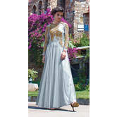 Craftsvilla Grey Net Embroidered Anarkali Gown (un-stitched)