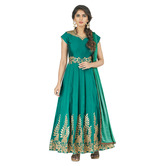 Craftsvilla Green Taffeta Embroidered Salwar Suit Dupatta Material (un-stitched)