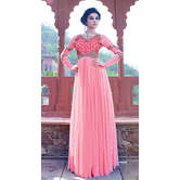 Craftsvilla Pink Net Embroidered Anarkali Gown