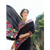 Craftsvilla Black Georgette Printed Saree