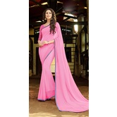 Craftsvilla Pink Georgette Printed Saree