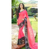Craftsvilla Peach Georgette Printed Saree