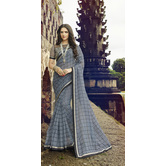 Craftsvilla Grey Rajjo Net Printed Saree