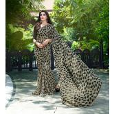 Craftsvilla Grey And Black Georgette Printed Saree