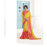 Craftsvilla Yellow Georgette Embellished Saree