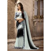 Craftsvilla Black And Grey Georgette Embellished Saree