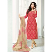 Craftsvilla Red Thread Work Embroidered Chanderi Dress Material With Matching Dupatta