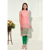 Anuswara Pink Linen Cotton Printed Designer Regular Wear Kurti