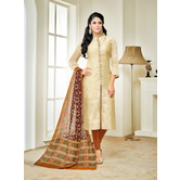 Avanya Cream Modal Cotton Plain Printed V Neck Chudidar Casual Dress Material With Matching Dupatta