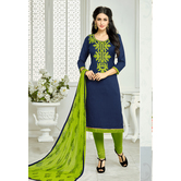 Craftsvilla Navy Blue Solid Embroidered  Lakda Jacquard Work Dress Material With Matching Dupatta