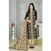 Craftsvilla Black Embellished Embroidered Chanderi Dress Material With Matching Dupatta