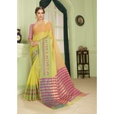 Craftsvilla Yellow Kota Cotton Saree With Warli Embroidered Border And Unstitched Blouse Material.