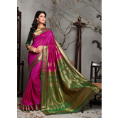 Craftsvilla Pink Bangalore Silk Saree With Contrast Jacquard Pallu And Unstitched Blouse Material