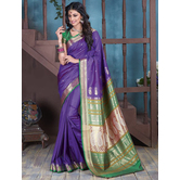 Craftsvilla Purple Bangalore Silk Saree With Contrast Jacquard Pallu And Unstitched Blouse Material