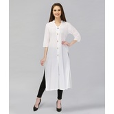 Anuswara White Color Cotton Plain Kurti