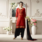 Craftsvilla Red And Black Color Cotton Embroidered Unstitched Straight Patiala Suit