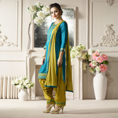 Craftsvilla Green And Mustard Color Cotton Embroidered Unstitched Straight Patiala Suit