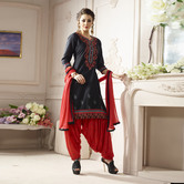 Craftsvilla Black And Pink Color Cotton Embroidered Unstitched Straight Patiala Suit