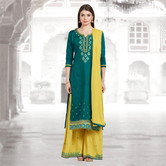 Craftsvilla Green And Mustard Color Cotton Embroidered Unstitched Straight Suit