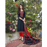 Craftsvilla Black And Red Cotton Jacquard Embroidered Un-stitched  Dress Material
