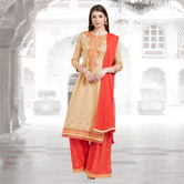 Craftsvilla Beige And Orange Color Cotton Embroidered Unstitched Straight Suit